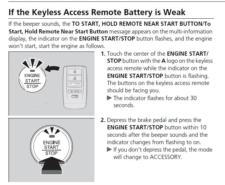Key Fob Low Battery Notification Incorrect - AcuraZine