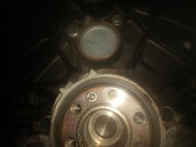 Heres what the rear main cover looks like, and if you didnt believe there was freeze plugs back there...