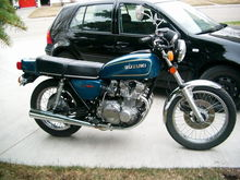 79 GS550 all original, post restoration. Really I didn't have to do too much to her as she was very well-kept by PO. Just a few parts to powdercoat, tires, sprockets, and a bit of elbow grease. 2008-ish