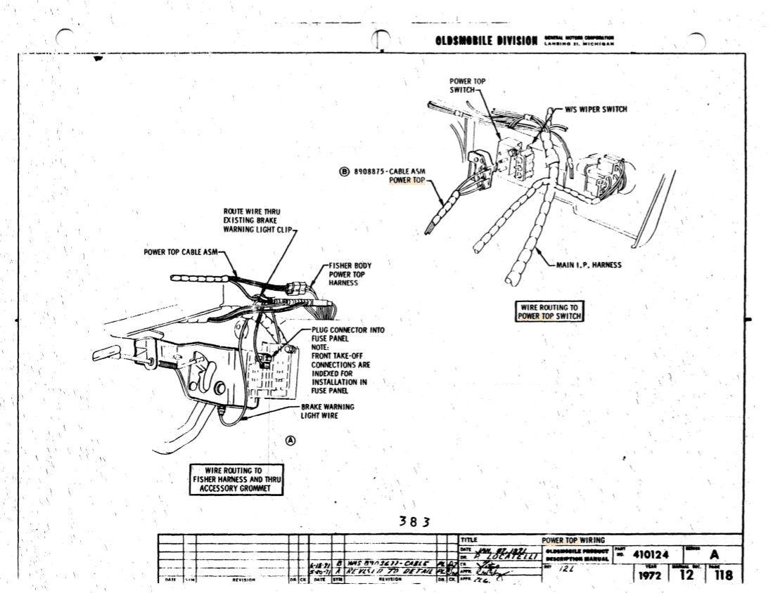 1969 Cutlass S Convertible Under Dash Power Top Wiring
