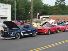Two of our Dan Gurney Saleens and a Shelby GT 500 at the Pilot Cruise In August 08