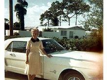 Grandma Leona on the day she drove the car home - 1965