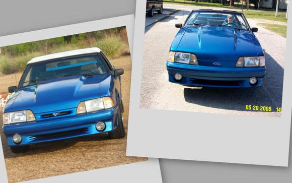 my 91 mustang after (left side pic) new grill, old grill on right
