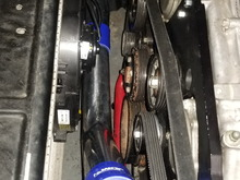 Well i learned tonight that the Tial Q 50 is to big to fit comfortably in between  the radiator and my pulleys.  So it's going to be on the back side about 6 inches from the blower.  Also after BOV V-Band connection gets welded on this hose will get wrapped to help prevent radiant heat soak.