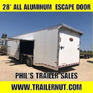 2019 28' ALL ALUMINUM  RACE TRAILER WITH 7 FT ESCAPE DOOR SU