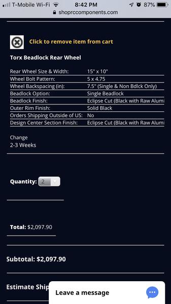 15x10 rc comp beadlocks  for Sale $1,800