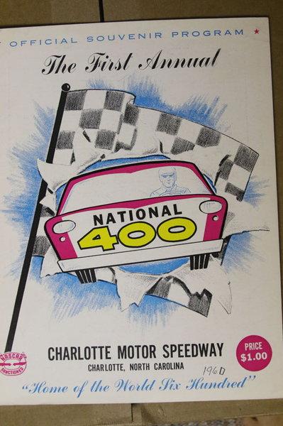 1960 NASCAR Inaugural National 400 Race Program Charlotte  for Sale $60