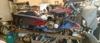 Drag racing bikes with lots of extras!