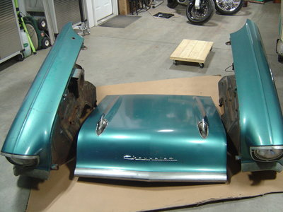 1957 Chevy fenders, inner fenders and hood