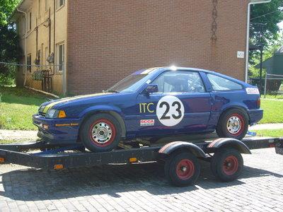 Honda CRX racecar, aluminum trailer, parts car & spares