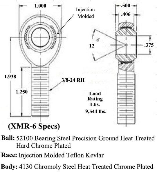 3/8 X 3/8-24 Chromoly Male RH Rod End XMR-6  for Sale $9