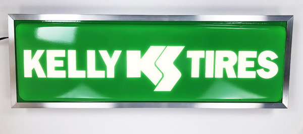 Lighted Dealer Sign Kelly Tires 12 X 36 Silver Frame Double   for Sale $399.99