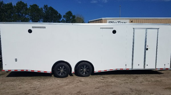 2019 Covered Wagon 8.5x28 7K Spread Axles Side Cabinets with