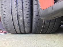 Michelin N2 left, Dunlop Maxx 2 right