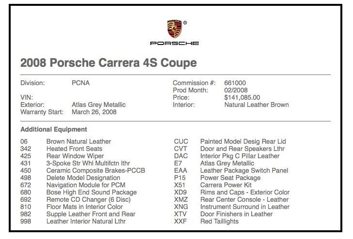 Build sheet - window sticker - Rennlist - Porsche Discussion