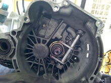 Clean clutch area.  Pull type throw out bearing, weird!