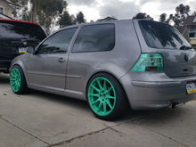 MK4 GTI wasabi green XXR's Green Hella taillights and side markers