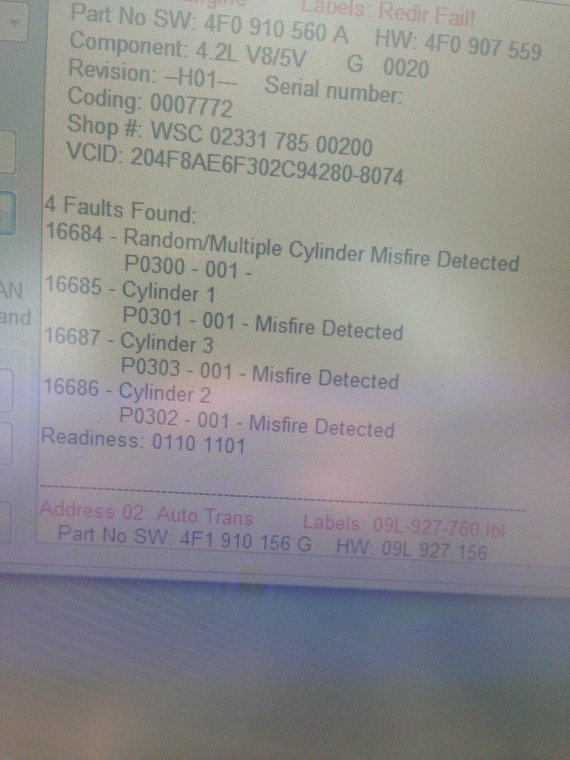 2005 A6 4 2 Cylinder 1, 2, 3 misfires - Page 3 - AudiWorld Forums