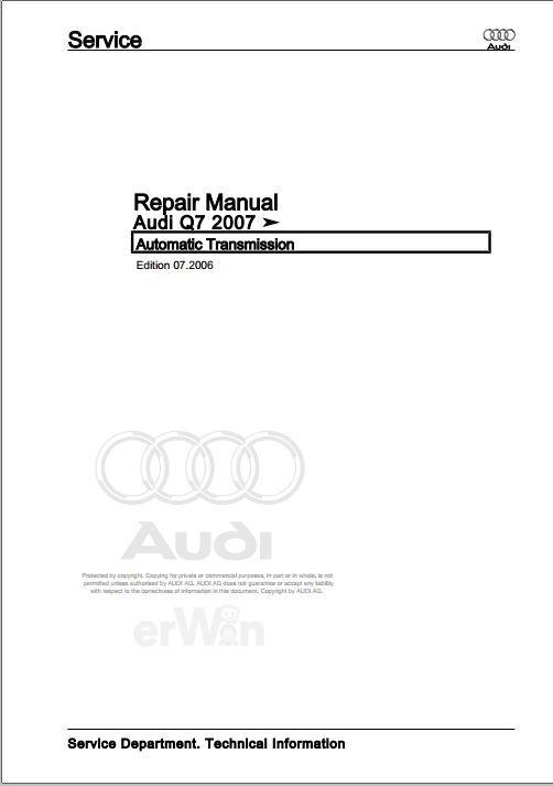 2007 audi q7 workshop manual