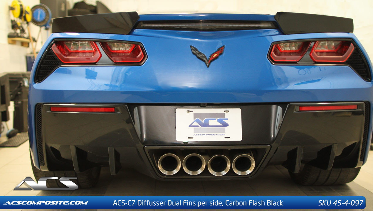 Carbon Flash Metallic Black 2 Total One 1 ACS Composite Rear Diffuser//Valance Fins ABS Plastic Injection for C7 Corvette Stingray Grand Sport and Z06 Per Tunnel Matches Rear Diffuser