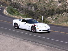 In action on a Mission Valley Corvettes & Cobras cruise, on the 94 near Tecate.