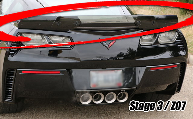 Dark Smoked Stage 3 Wickerbill Spoiler Center C7 Corvette Stingray//Z06//GS 2014