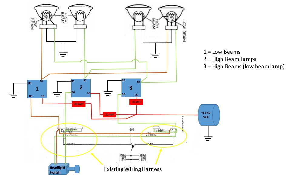 high beam low beam wiring diagram   33 wiring diagram
