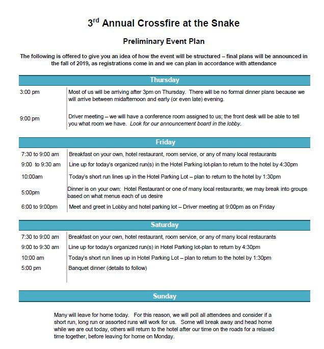 Third Annual - Crossfires at The Snake - April 16-20 2020 ...