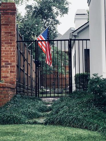 Memorial gate, side with mondo grass, deep shade.