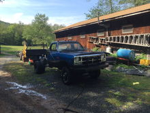 """My project 1989 w350 sitting on a 79 power wagon frame with 2 one ton spring packs in the back along with helpers and 4"""" lift springs in the front to level it out a bit. Sitting on 6 33"""" bfg mud terrains km2s"""