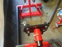 """Got some 1-1/2"""" x 3"""" x 1/8"""" rectangular tubing and squared the two stands up so the heads were about 30"""" apart. (That's the measurement I figure I need from mount to mount on engine)"""