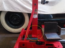 weld brace in where blue line is.  insert a wedge underneath and it brings it up even...