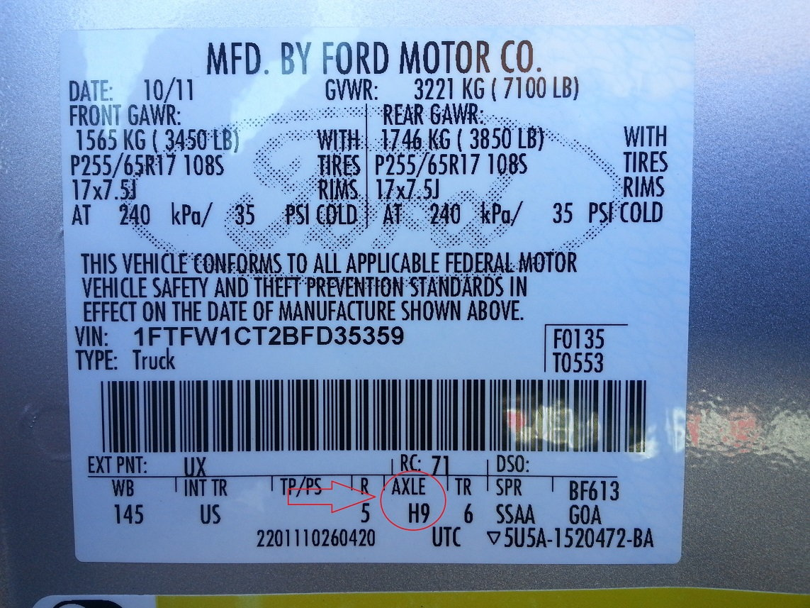 How to tell what gear ratio the truck has? - Ford F150 Forum