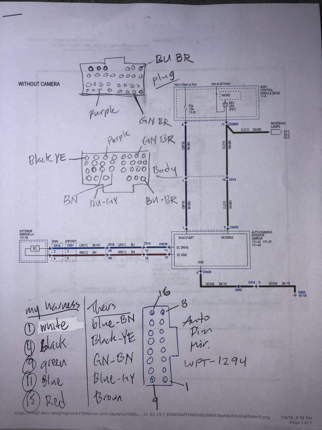 Auto Dimming Mirrors Ford F150 Forum Community Of Truck Fans Wiring Diagram Needed My Notes Not Clean But Has All The Info For 2018 Xl Diagrams Are A 2017 Since They Havent Released To New Drawings Yet