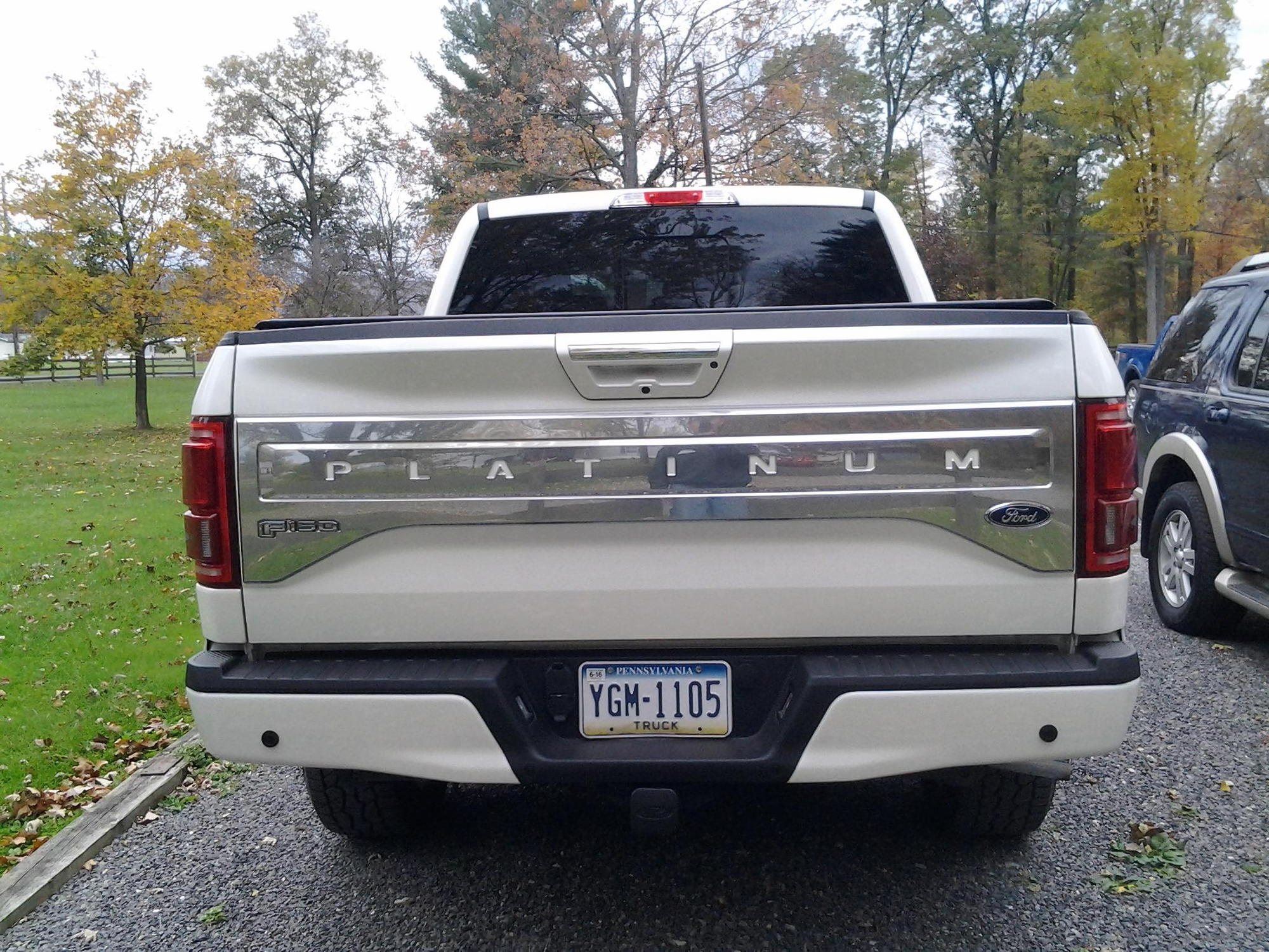 there is no font made from ford so i had my sign guy hand cut all the letters in white platinum color the picture does show how great it really looks on - 2015 Ford F 150 King Ranch Tailgate