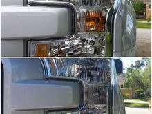 Before:  Stock amber bulb            After:  Chrome bulb that is amber when lit
