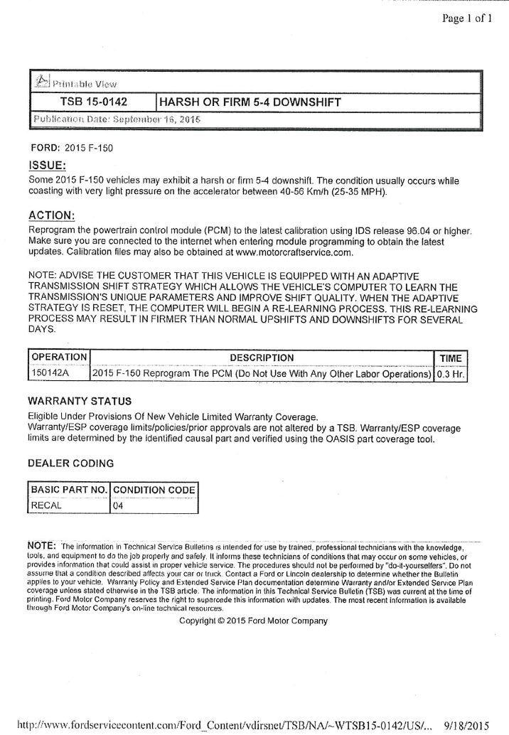 Tsb 15-0142 - F150online Forums
