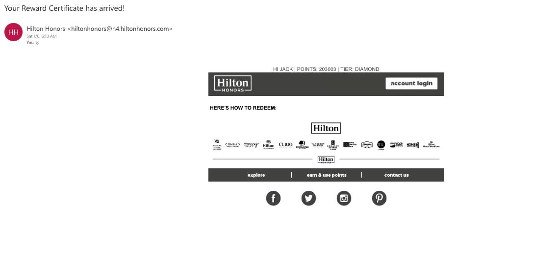 Hilton Free Night Cert Blank - FlyerTalk Forums