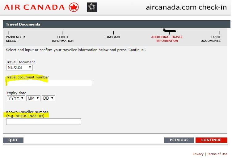 AC Online Check-In Confusing for USA - NEXUS Travel Document Number