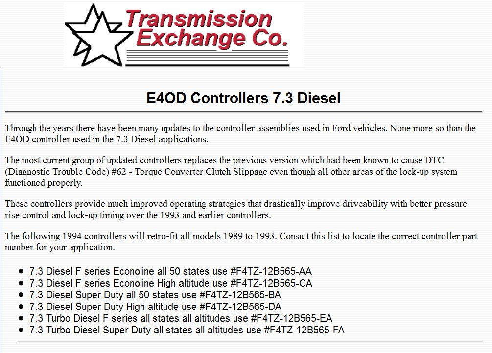 SOLENOID PACK E4OD 89-94 FORD F SERIES GAS OR DIESEL TRUCK