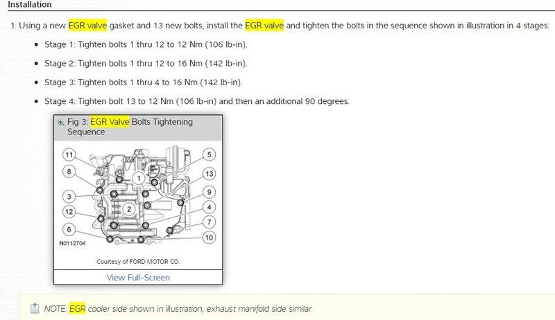 6.7 Powerstroke Specs >> 2012 F350 6 7l Egr System Torque Specs Ford Truck Enthusiasts Forums