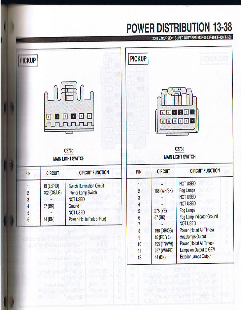 wiring pinout for 99-00 and 01-07 headlight switch - ford ... 09 f250 headlight wire diagram