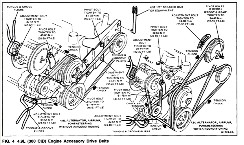 1986 f-250 4 9l 300cu straight 6 belt diagram