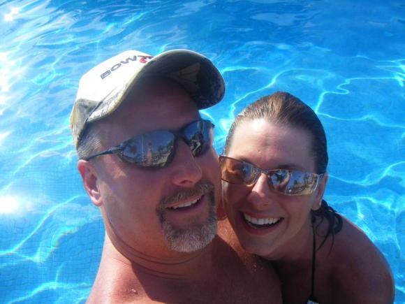 Enjoying the cool waters of Cancun.