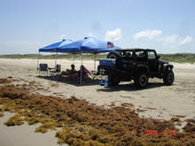 set up on the beach in Port A