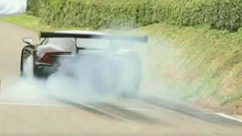 This Aston Martin Vulcan attacks a hill climb event with big smokey burnouts