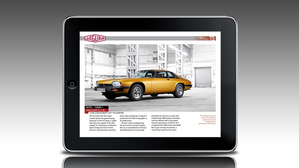 Jaguar 75th anniversary Apple iPad app