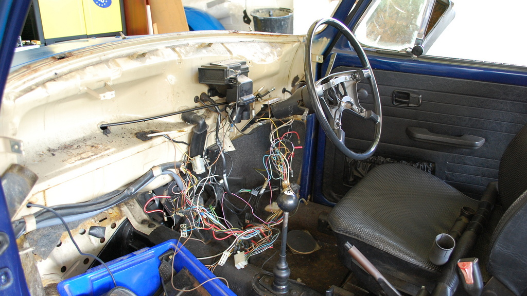 Stripped car interior