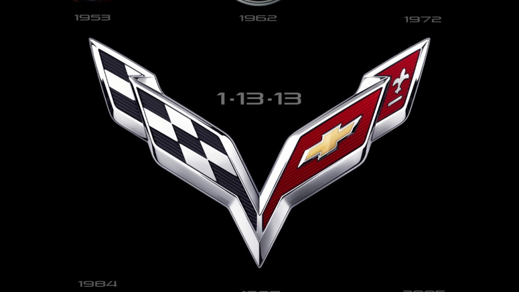 Corvette crossed flags logos over time