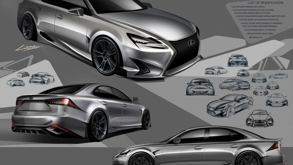 2014 Lexus IS DeviantART SEMA design concept. Second place finisher Lucia Lee.